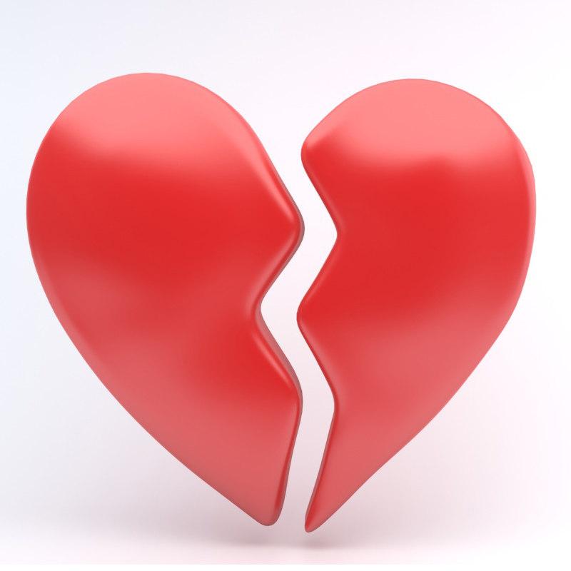 broken heart icon 3D model