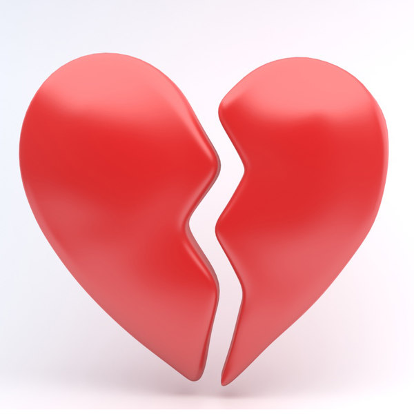 broken heart icon 3D model