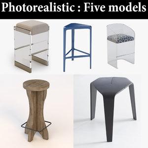 3D model stool bar realistic