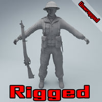 unwrapped rigged character british 3D model