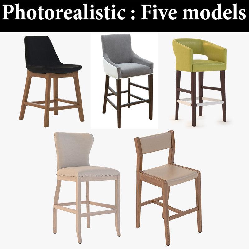 stool bar realistic 3D