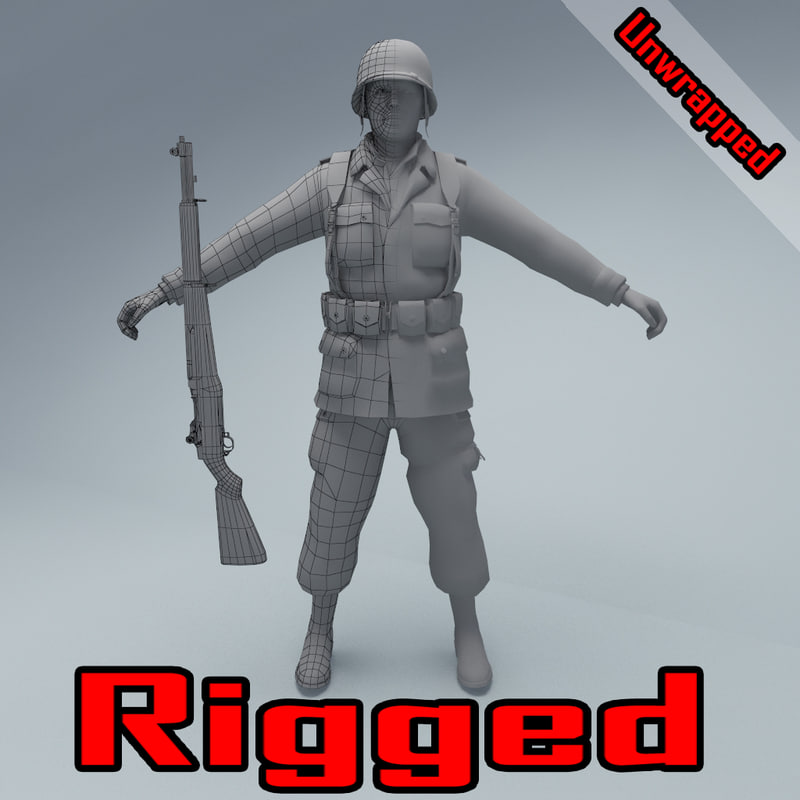 unwrapped rigged character american soldier 3D model