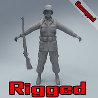 US American Soldier WW2 RIGGED