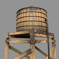 3D water tower photorealistic model