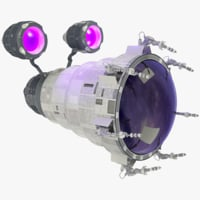 telescopic spaceship ship 3D