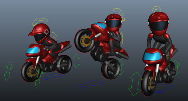 rigged little rider bike 3D