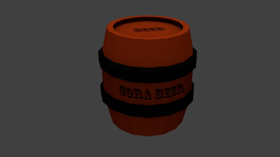 cartoon barrel 3D model