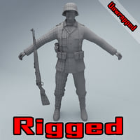 3D unwrapped rigged wehrmacht soldier ww2