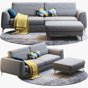 3D three-seat sofa boconcept fargo