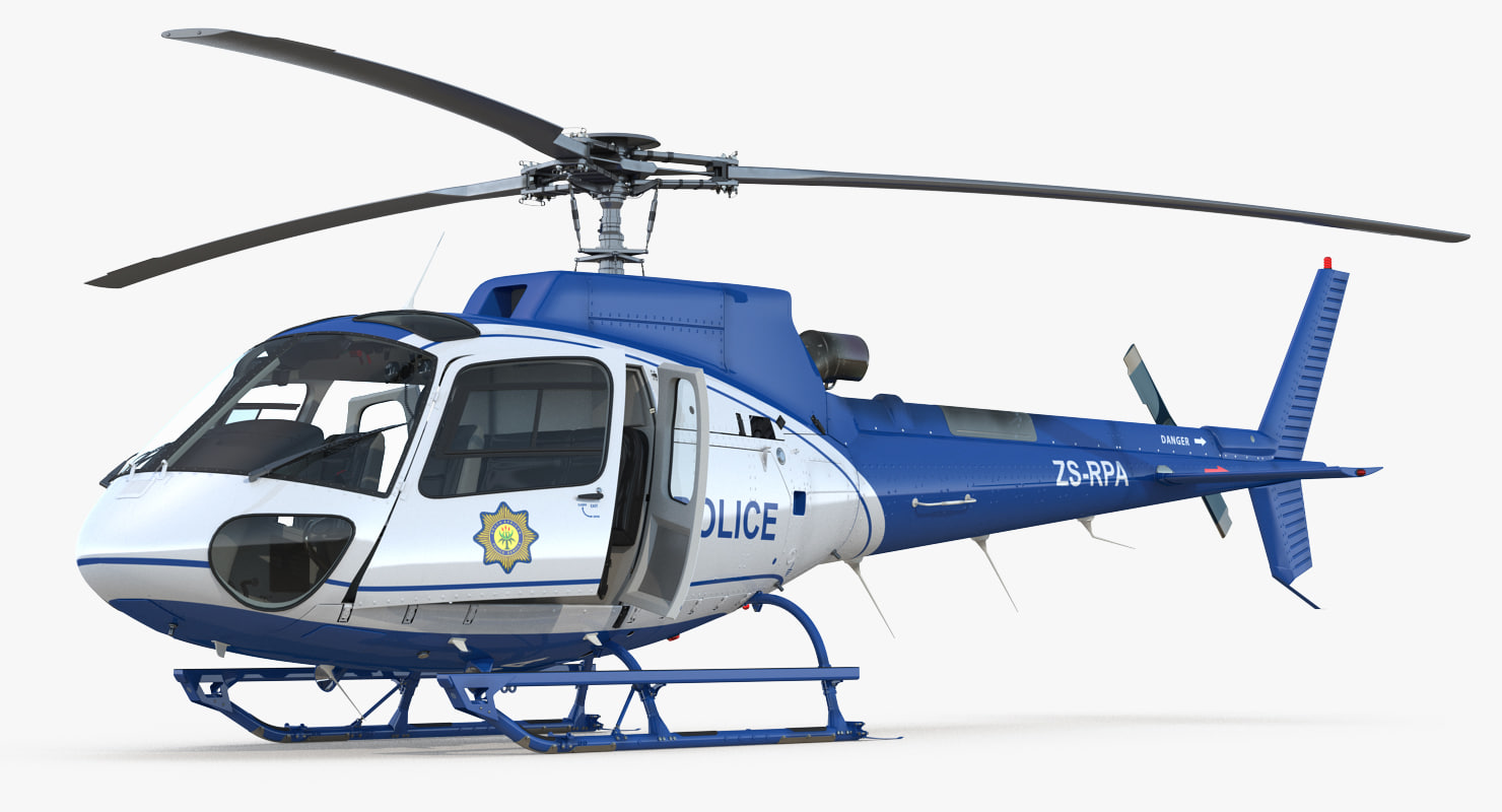 3D police helicopter eurocopter as-350 model