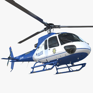police helicopter eurocopter as-350 3D model