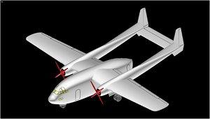 c-119 flying boxcar aircraft 3D model