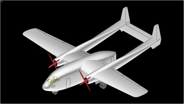c-119 flying boxcar aircraft 3D model