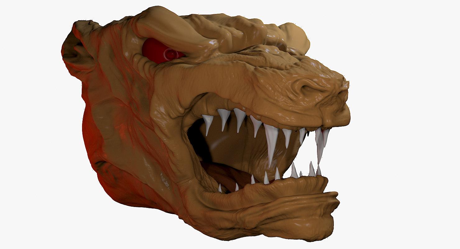 3D wolf bust statue model