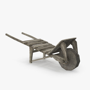 old wooden barrow 3D