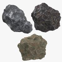3D 3 meteorites model