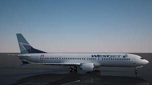 westjet boeing 737 - 3D model