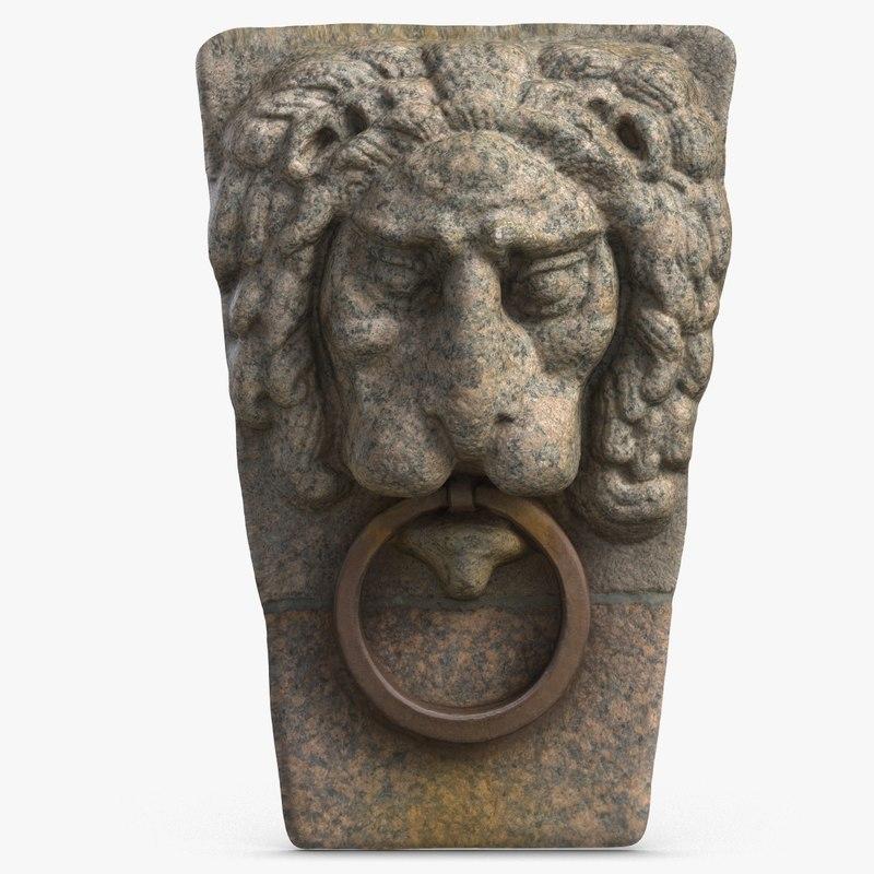 mascaron lion head stone 3D model