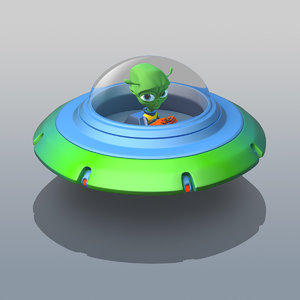 ufo cartoon alien 3D model