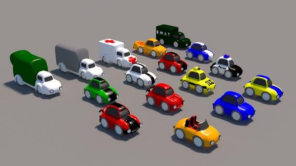 cartoon car pack 3D model