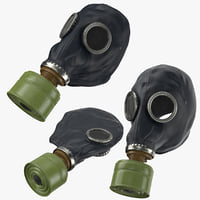 3D gas mask 3 poses model