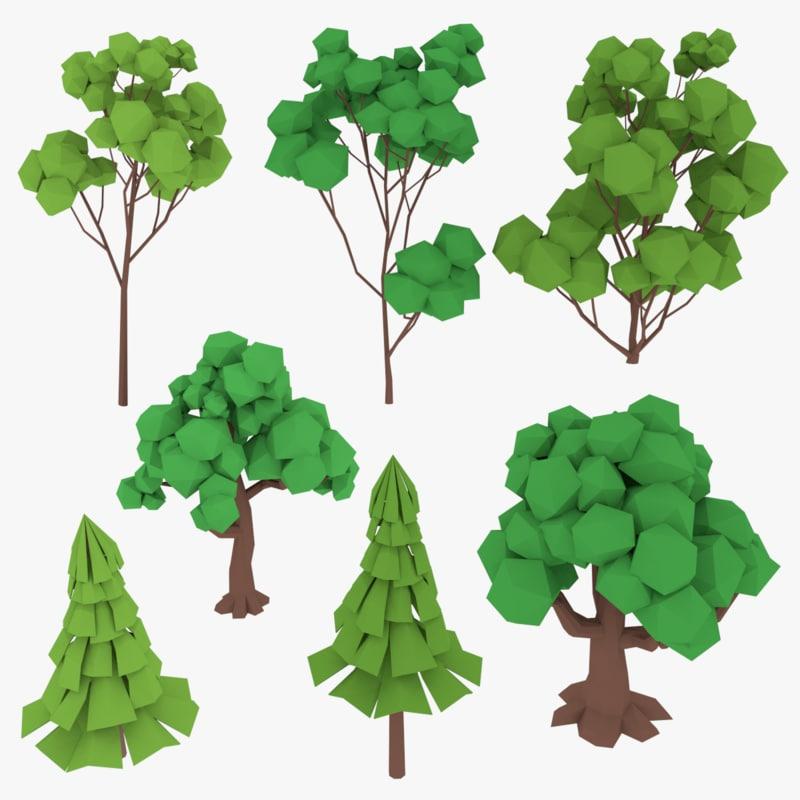 3D trees cartoon toon model