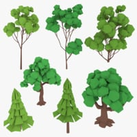 3D trees cartoon toon model