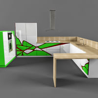 3D model hi-tech kitchen 01