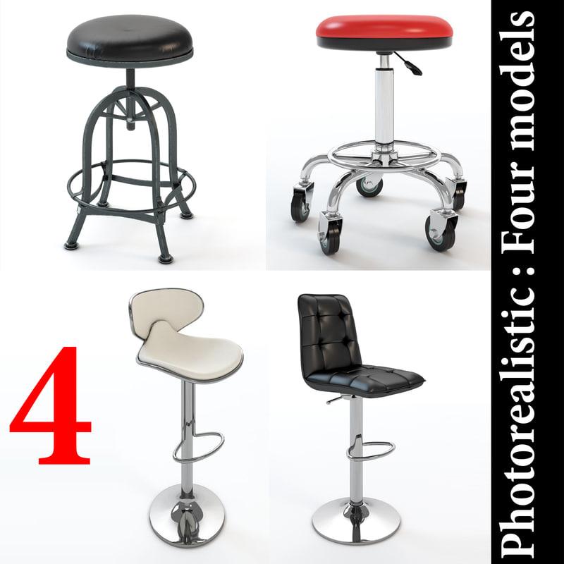 3D bar stool realistic