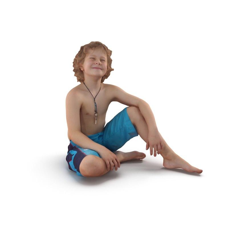 child beach people human body 3D model