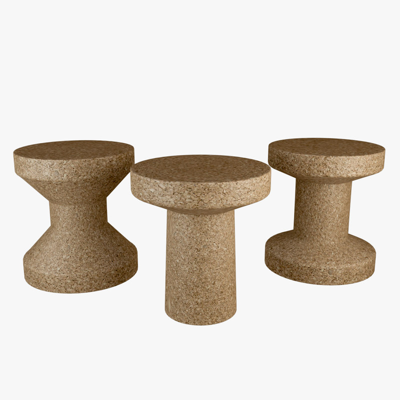 cork stool table 3D