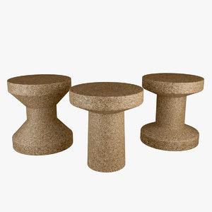 cork stool table 3D