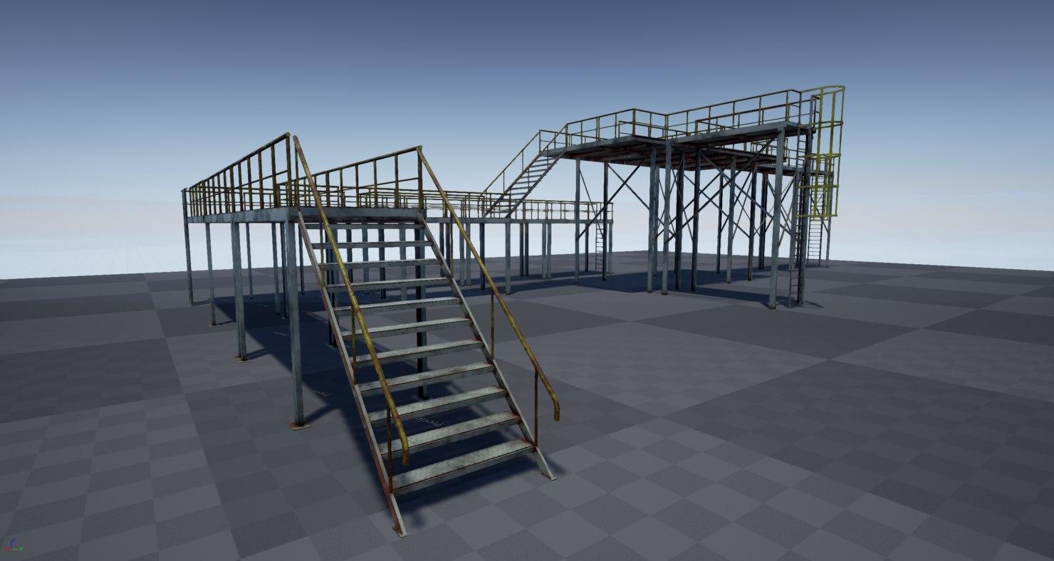 3D pbr modular industrial platform model