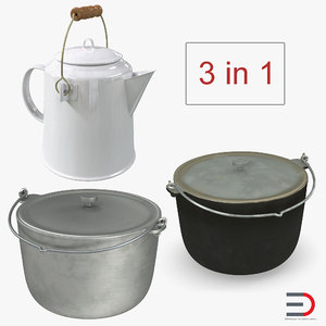 3D model camping pots