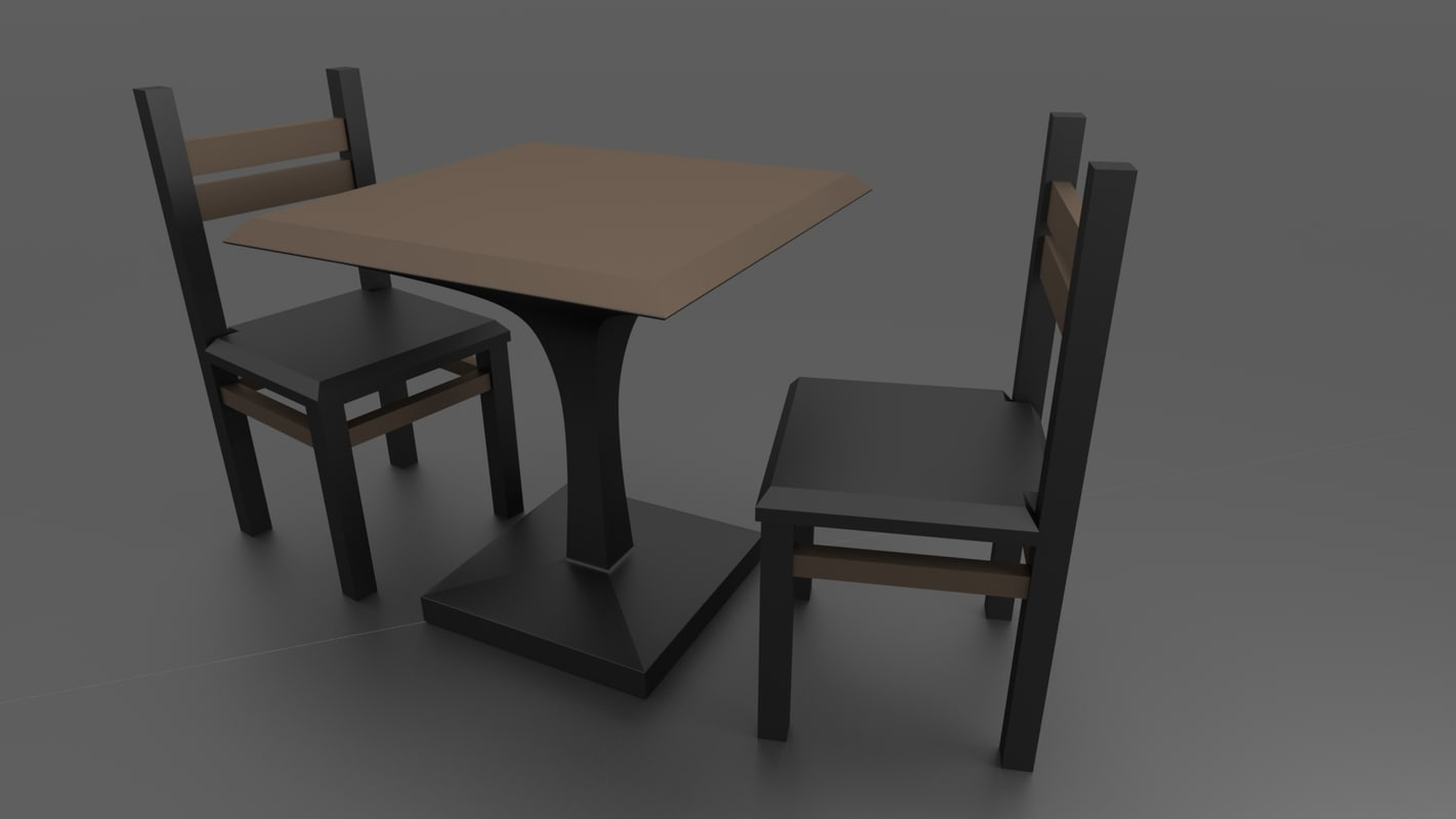 3D simple table chairs