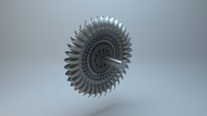 pelton wheel turbine 3D model
