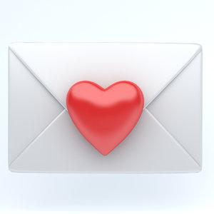 icon heart envelope 3D model