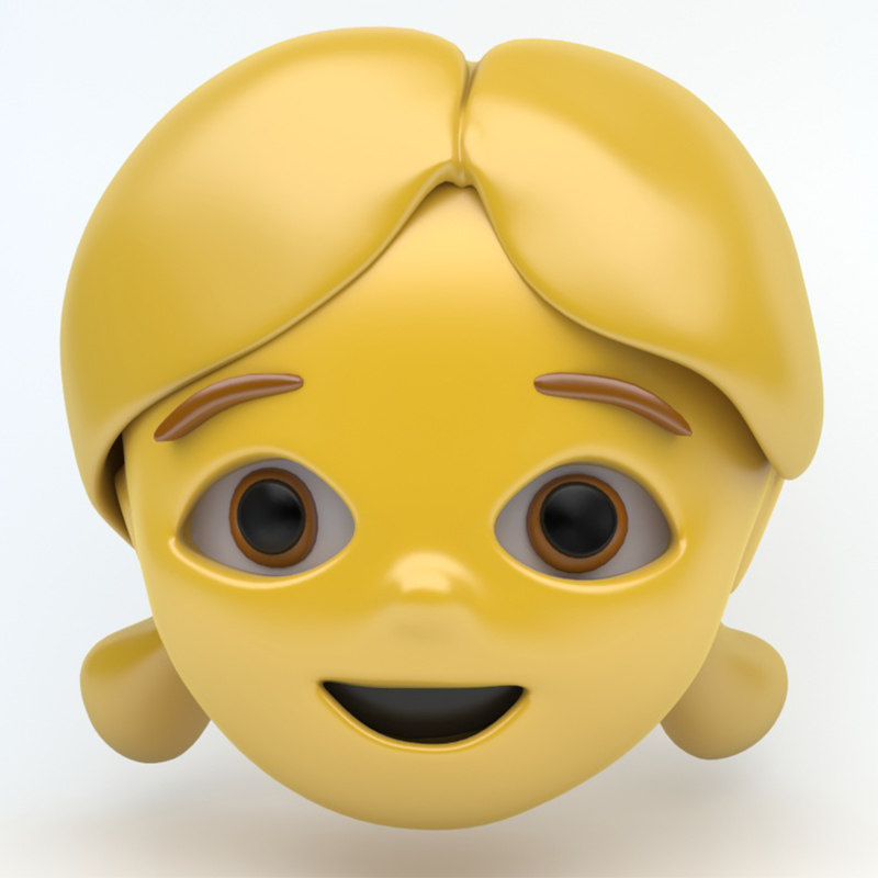 emoji face girl 3D model