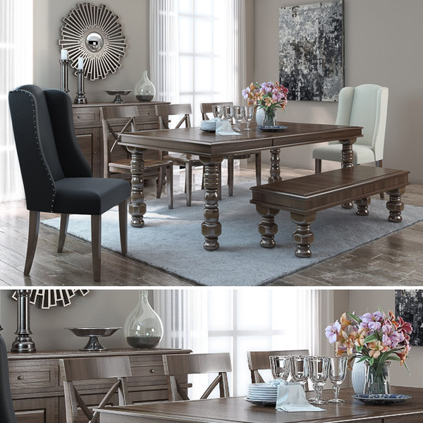 Group Dining Room Table Chair 3d, Casual Dining Room Sets