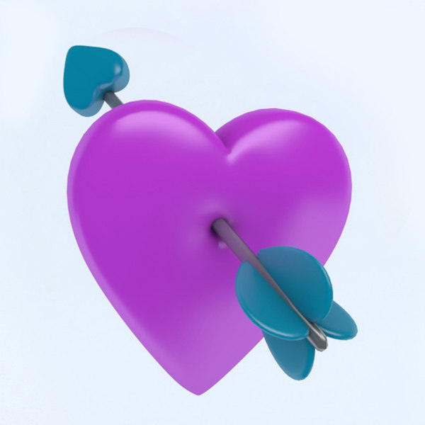 3D heart icon arrow