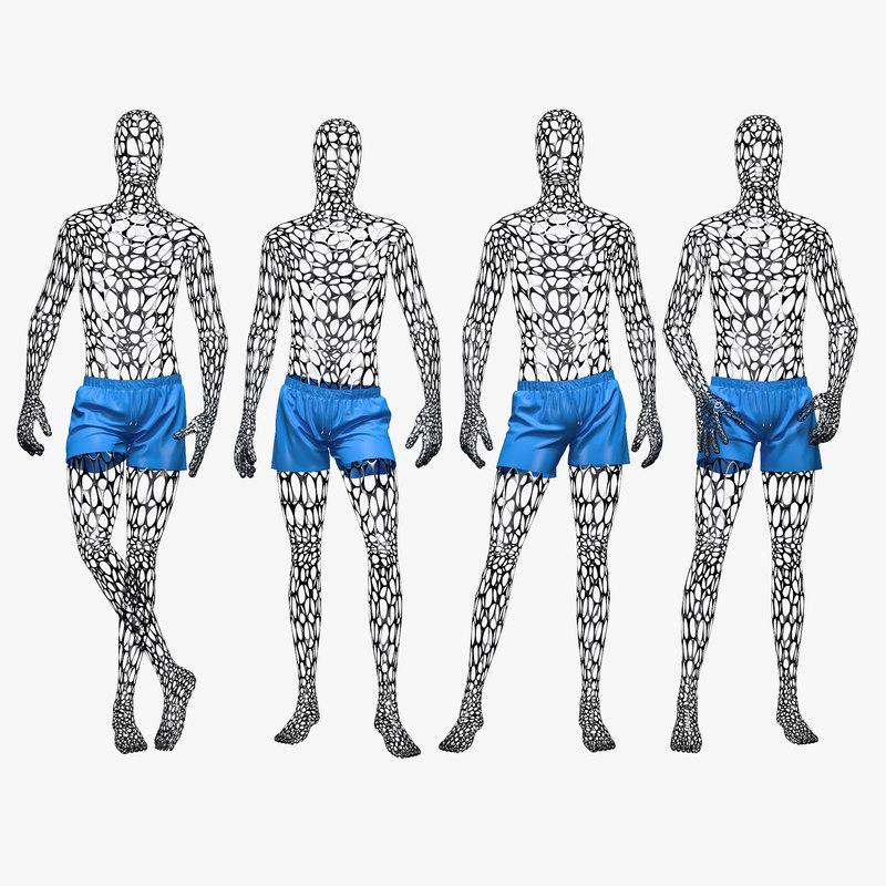 3D set male wire mannequin model