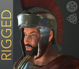 roman helmet character rigged 3D model