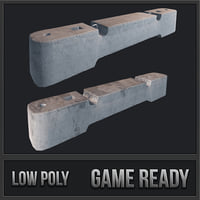 concrete barriers pbr 3D