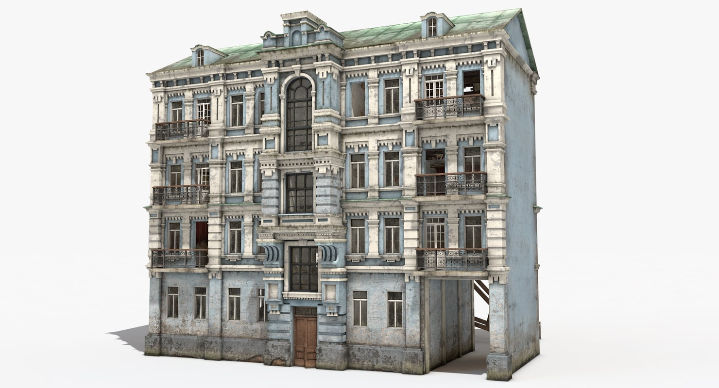 3D Model Old Abandoned City House Interior