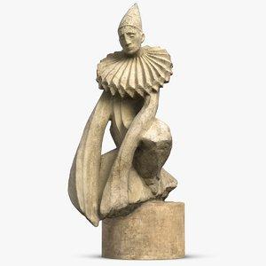 3D pierrot sculpture