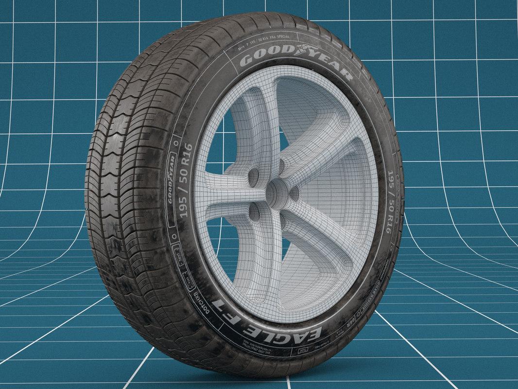 realistic car tire 3D model