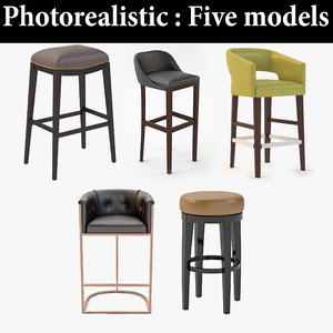 bar stool realistic 3D