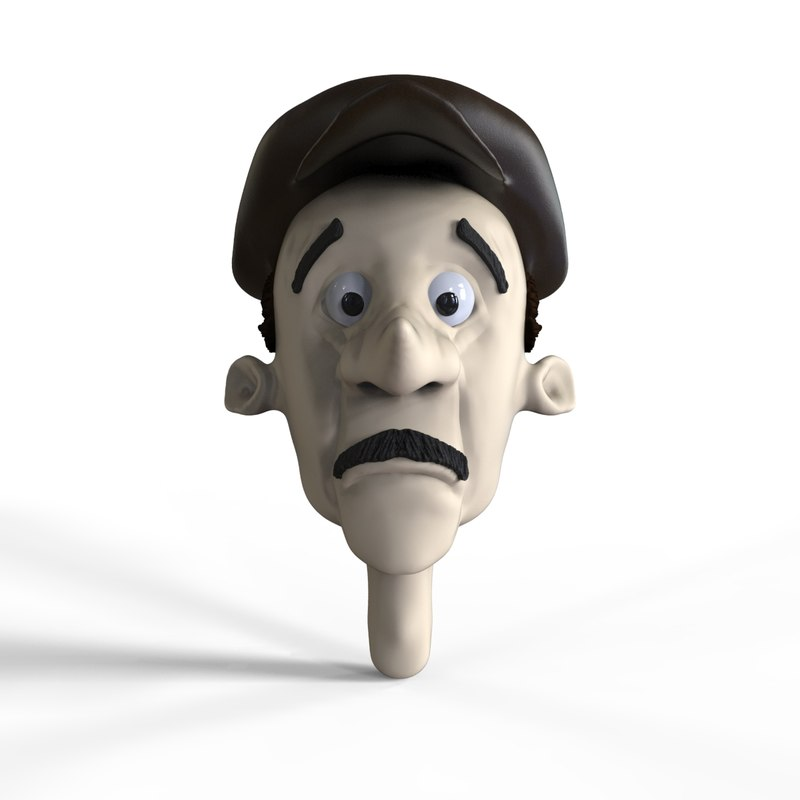 3D old man character head