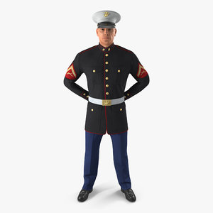 3D usmc marine officer wearing