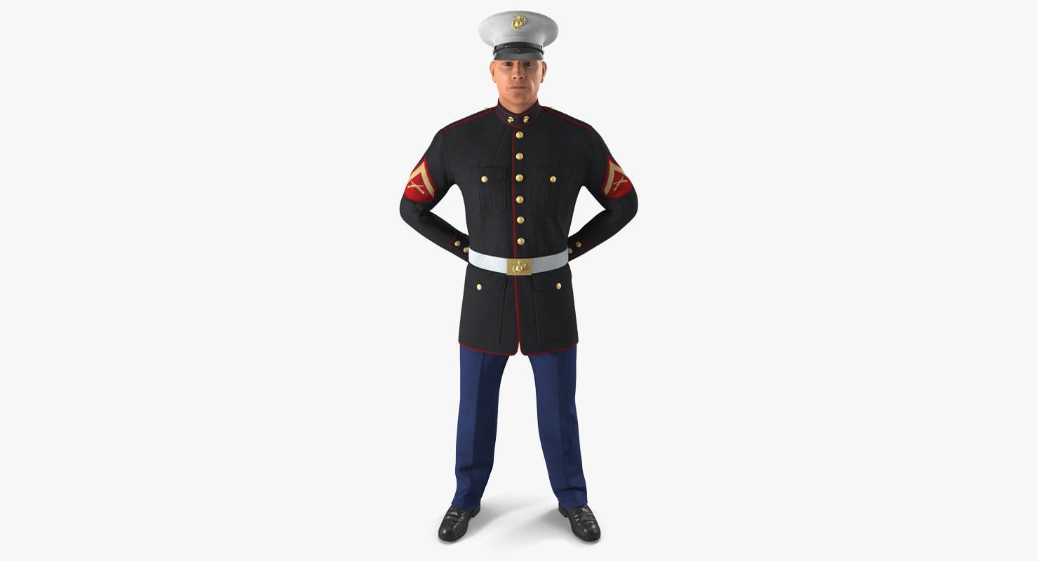 3D usmc marine officer wearing